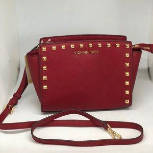 MICHAEL KORS Selma Stud MD Messenger Leather Bag